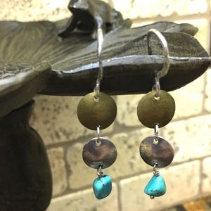 Silpada Silver, Brass, Turquoise Earrings NWOT